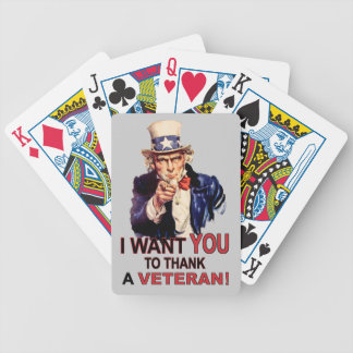 Uncle Sam I Want You To Thank A Veteran Playing Bicycle Playing Cards