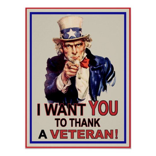 uncle sam i want you to thank a veteran poster zazzlecom