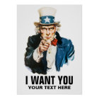 Uncle Sam I Want You Vintage Poster