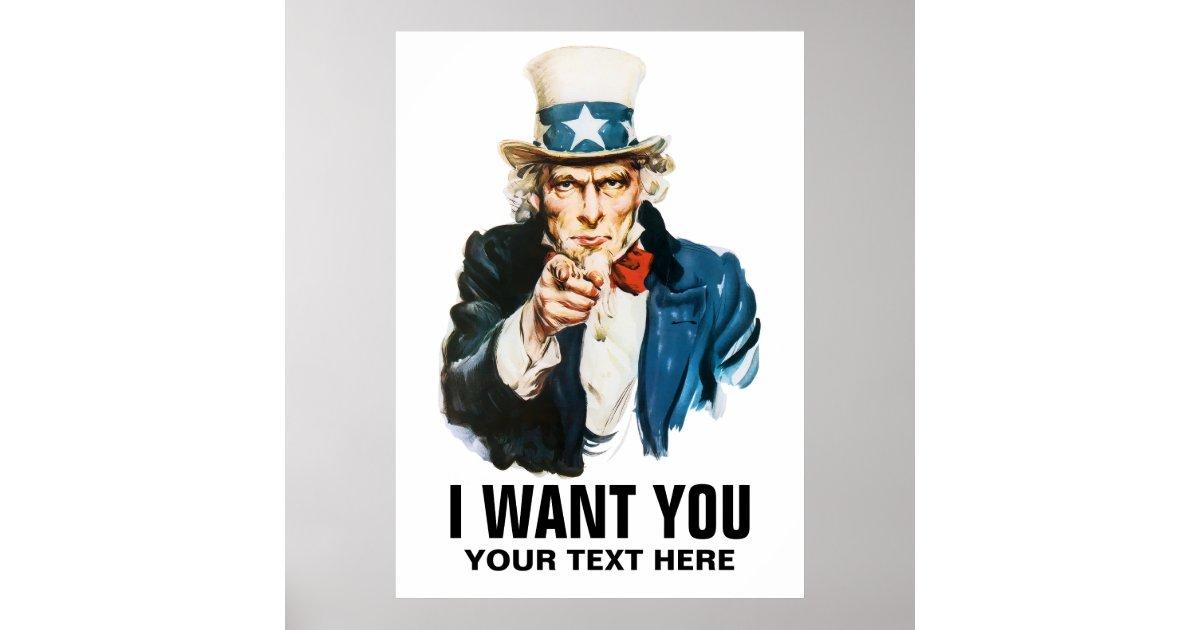 Uncle Sam I Want You Vintage Poster Zazzle Com