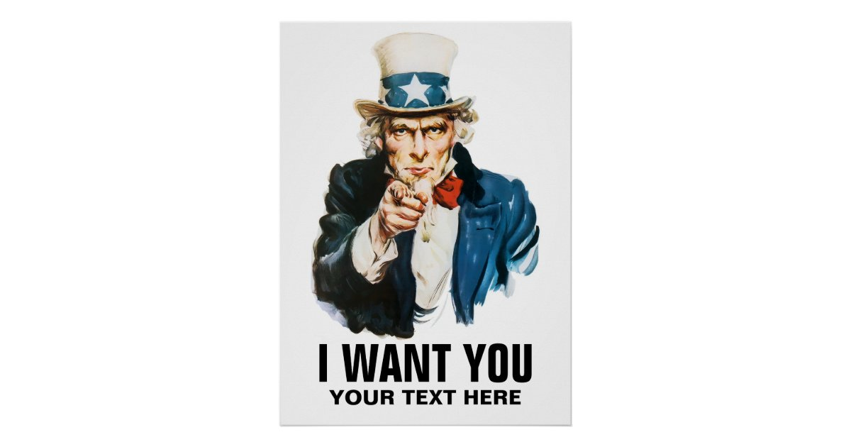 Uncle Sam I Want You Vintage Poster Zazzle Com