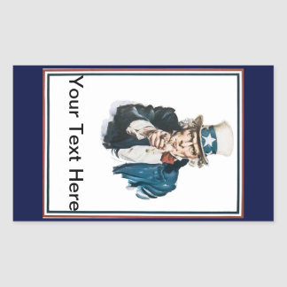 Uncle Sam I Want Your Text Here You Customize Rectangular Sticker