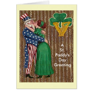Uncle Sam & Irish Lady Kiss Card