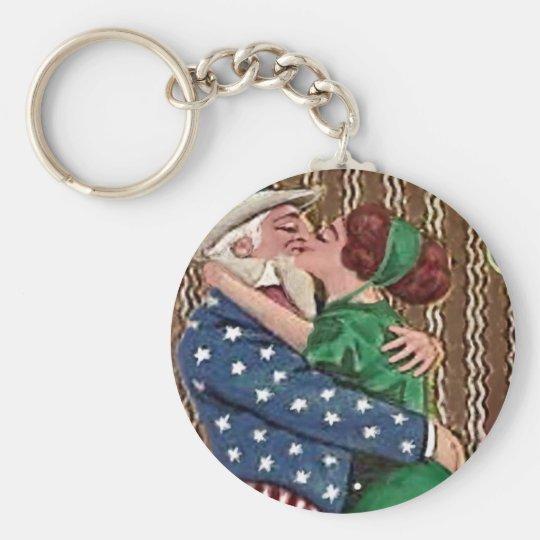 Uncle Sam & Irish Lady Kiss Keychain