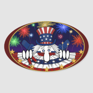 Uncle Sam Kilroy Oval Sticker