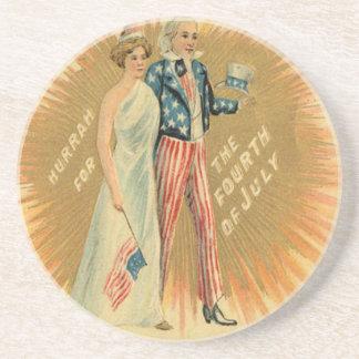 Uncle Sam Lady Liberty US Flag Drink Coaster