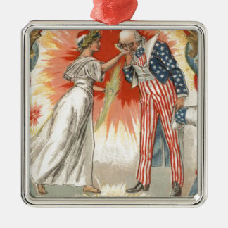 Uncle Sam Lady Liberty US Flag Fireworks Metal Ornament