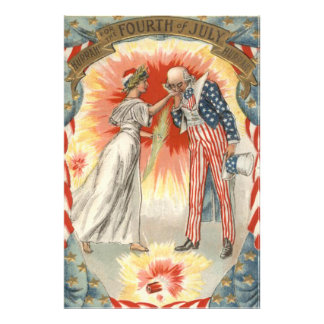 Uncle Sam Lady Liberty US Flag Fireworks Photo Print