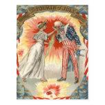 Uncle Sam Lady Liberty US Flag Fireworks Post Card