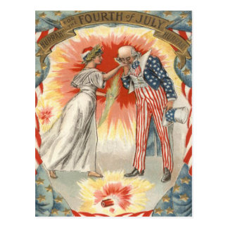 Uncle Sam Lady Liberty US Flag Fireworks Postcard