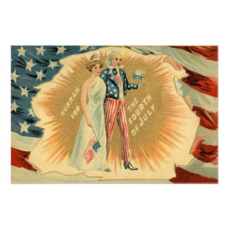 Uncle Sam Lady Liberty US Flag Photo Print