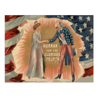 Uncle Sam Lady Liberty US Flag Post Card