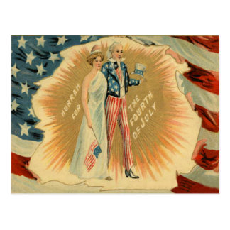 Uncle Sam Lady Liberty US Flag Postcard