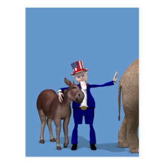 Uncle Sam Loves Donkeys Postcard