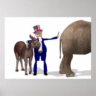 Uncle Sam Loves Donkeys Poster