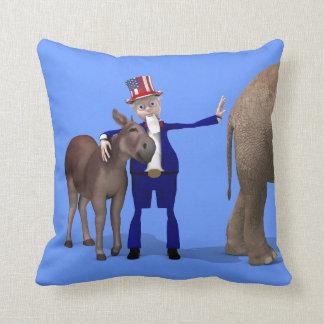 Uncle Sam Loves Donkeys Throw Pillow
