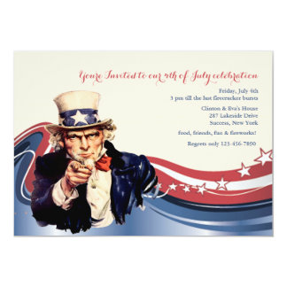 Uncle Sam Patriotic Invitation