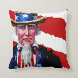 Uncle Sam Patriotic Red White Blue Vintage Art USA Throw Pillows