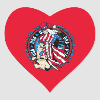 Uncle Sam Patriotic U.S.A. Flag 4th of July Heart Sticker