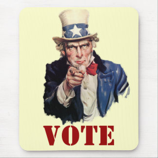 Uncle Sam Patriotic VOTE Designs Mouse Pad