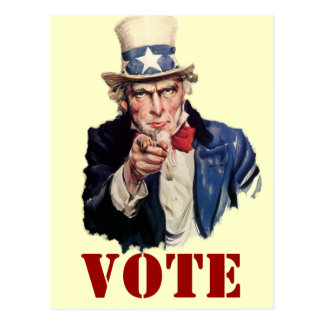 Uncle Sam Patriotic VOTE Designs Postcard