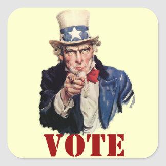 Uncle Sam Patriotic VOTE Designs Square Stickers