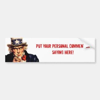 Uncle Sam Personalized Bumper Sticker