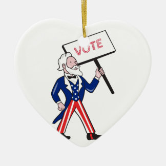 Uncle Sam Placard Vote Standing Cartoon Ceramic Ornament