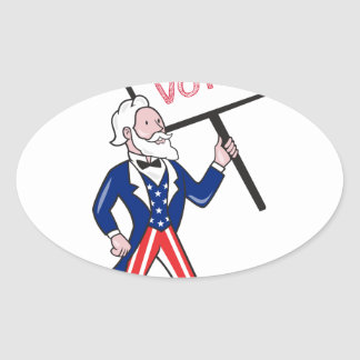 Uncle Sam Placard Vote Standing Cartoon Oval Sticker