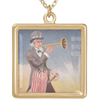 Uncle Sam Playing The Bugle Gold Plated Necklace