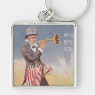 Uncle Sam Playing The Bugle Silver-Colored Square Keychain