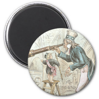 Uncle Sam Points a Telescope 2 Inch Round Magnet