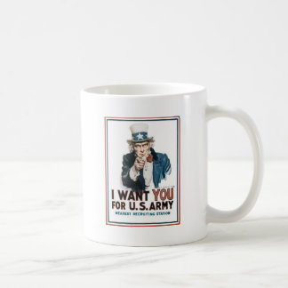Uncle Sam Poster, America. I Want You For... Mugs