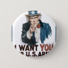 Uncle Sam Poster, America. I Want You For... Pinback Button
