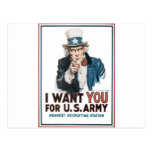 Uncle Sam Poster, America. I Want You For... Post Card