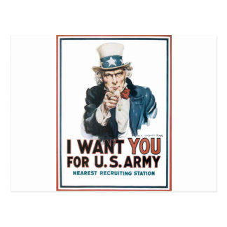 Uncle Sam Poster, America. I Want You For... Postcard