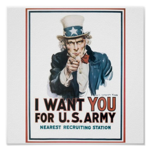 Uncle Sam Poster, America. I want you for the U.S.