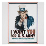 Uncle Sam Poster, America. I want you for the U.S. Poster