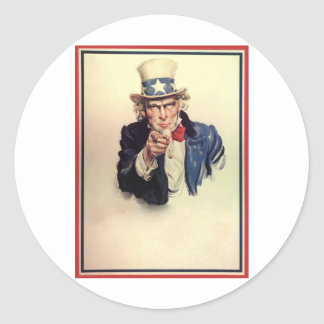 Uncle Sam Poster Classic Round Sticker