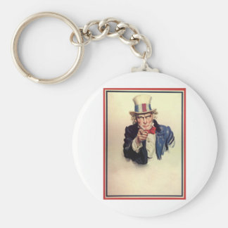 Uncle Sam Poster Template Basic Round Button Keychain