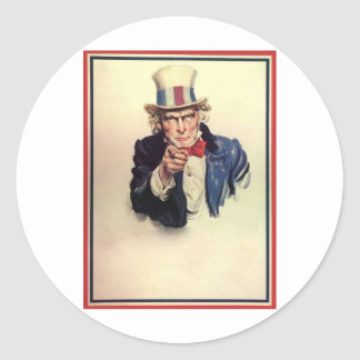 Uncle Sam Poster Template Classic Round Sticker