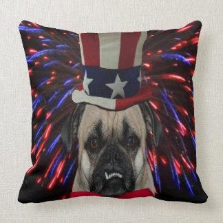 Uncle Sam Pug Throw Pillow