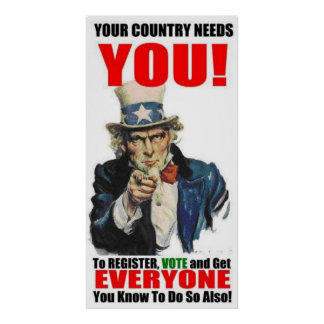 Uncle Sam Register to Vote Poster