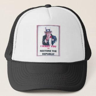 UNCLE SAM RESTORE THE REPUBLIC TRUCKER HAT