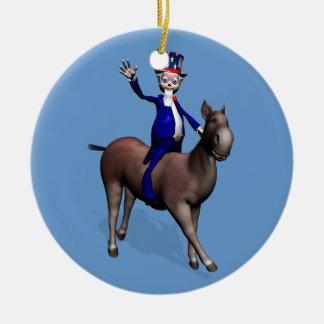 Uncle Sam Riding On Donkey Ceramic Ornament