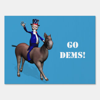 Uncle Sam Riding On Donkey Yard Sign