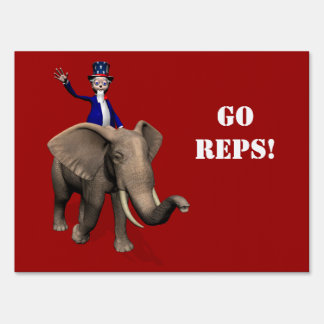 Uncle Sam Riding On Elephant Lawn Sign