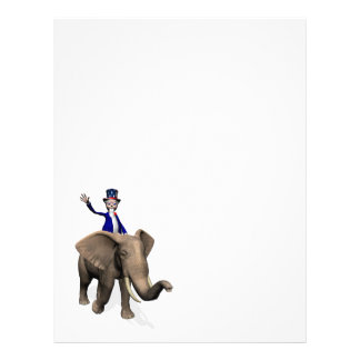 Uncle Sam Riding On Elephant Letterhead