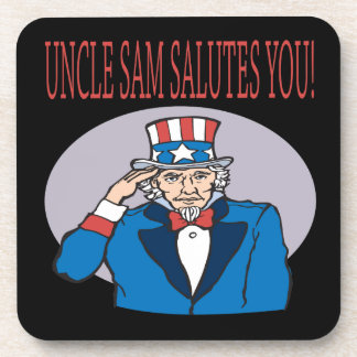 Uncle Sam Salutes You Drink Coaster