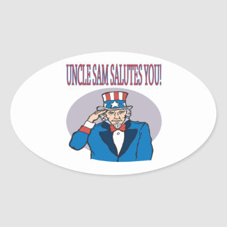 Uncle Sam Salutes You Oval Sticker